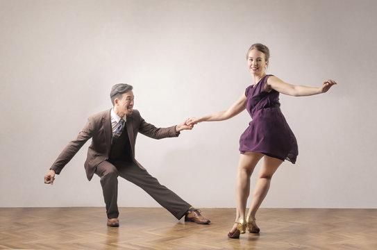 Couple of dancer having great fun
