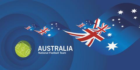 Australia flag soccer football team abstact stadium background