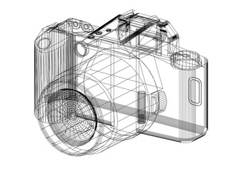Digital Camera Architect blueprint - isolated