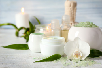 Set for spa treatment on wooden table