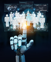 White cyborg hand controlling group of people 3D rendering