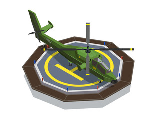 Helicopter Pad Isometric Composition