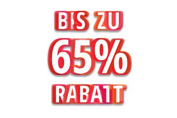 bis zu 65% Rabatt - weißer Hintergrund rote Schrift für Symbol / Schild