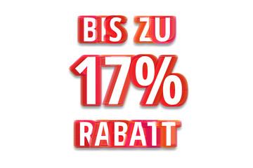 bis zu 17% Rabatt - weißer Hintergrund rote Schrift für Symbol / Schild