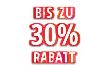bis zu 30% Rabatt - weißer Hintergrund rote Schrift für Symbol / Schild