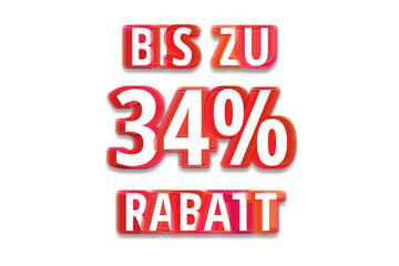 bis zu 34% Rabatt - weißer Hintergrund rote Schrift für Symbol / Schild