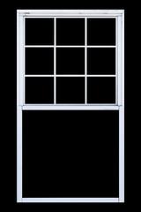 White wood window frame isolated on black background