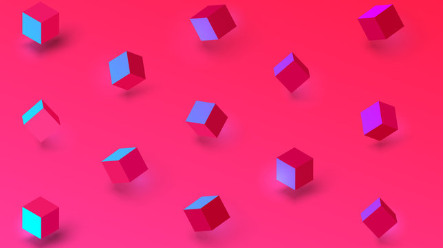 Pink textured background with geometric 3d cubes pattern.