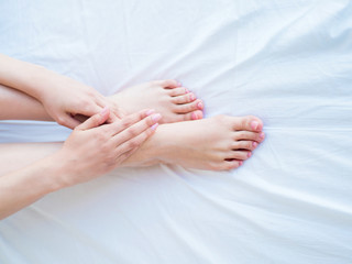 care for beautiful female feet skin . Female feet and hands