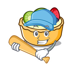Playing baseball fruit tart character cartoon
