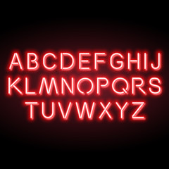 Neon red vector alphabet, set of realistic fluorescent glowing letters