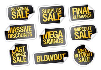 Sale stickers set - seasonal sale, final clearance