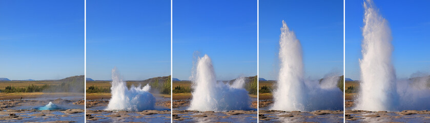 Strokkur Geyser eruption in sequence. Geothermal power, Iceland
