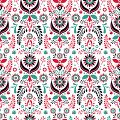 Garden Poster Moroccan Tiles Folklore floral ornament. Seamless pattern.