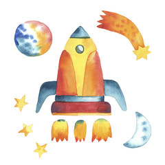 Set of hand drawing yellow rocket, stars, moon and planet in cartoon childish stile