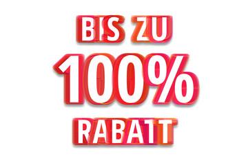 bis zu 100% Rabatt - weißer Hintergrund rote Schrift für Symbol / Schild