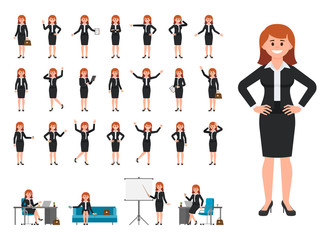 Businesswoman in black suit cartoon character. Vector illustration of female working in office