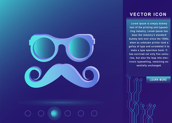 hipster Mustache and Glasses Icon