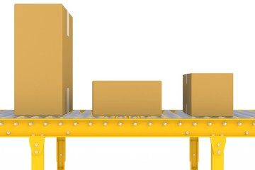 Empty cardboard box on yellow conveyor line isolated on a white background, Delivery concept, 3d rendering