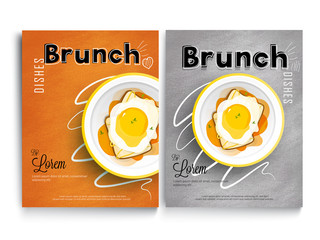Brunch cook book or recipe book cover design. Breakfast and lunch dishes combination, food-art recipe book.