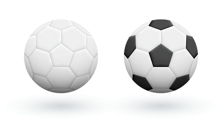 White and Black-White soccer balls isolated on white. Association football balls. Soccer equipment.