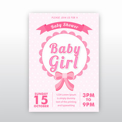 Baby shower invitation template in pestal pink colour.