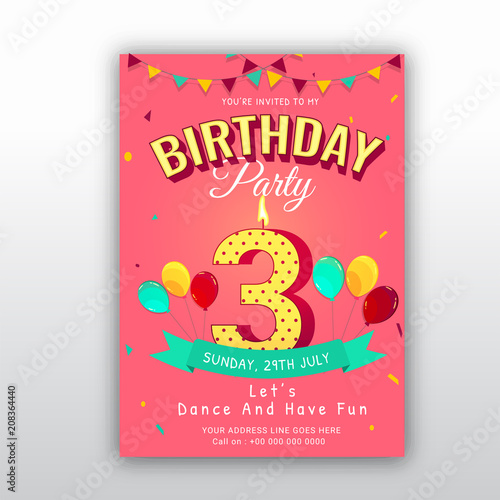 Birthday Card Invitation Template With Number 3 Three 3rd