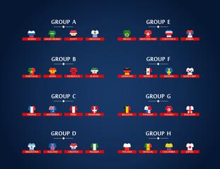World soccer championship groups. Football tournament scheme. Football infographic