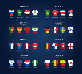World soccer championship groups. Football tournament scheme. Football infographic