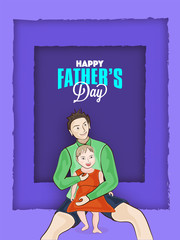 Cute daughter sitting in her father lap, father and daughter duo on purple layers background. Happy Father's Day celebration concept.