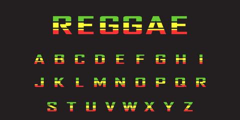 reggae  color font. Jamaica style ABC letters  vector illustration