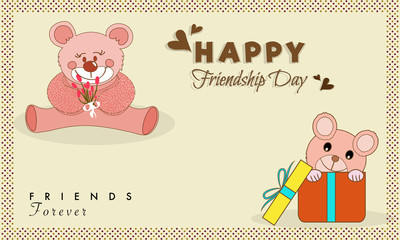 Happy Friendship Day Postcard Design with Teddy Bears.