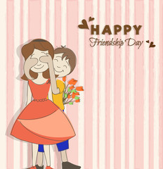 Happy Friendship Day Background with a cute couple.