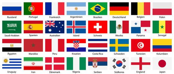 Fußball 2018 in Russland. Alle Flaggen teilnehmender Mannschaften in Seitenverhältnis 2:3 isoliert auf weißem Hintergrund.
