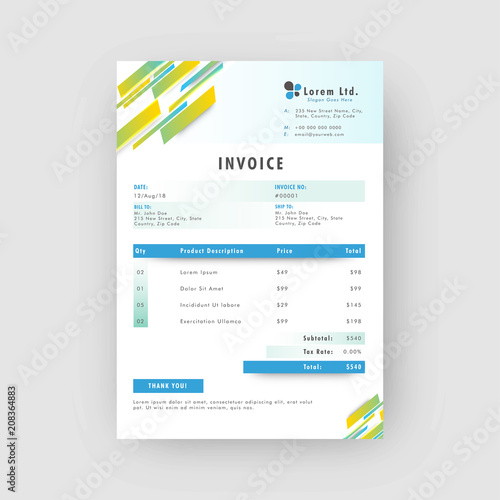 Corporate Invoice Or Estimate Template With Colorful Abstract Design