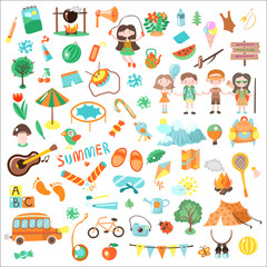 Kids camping cartoon vector illustration. Set of Kids camp elements and icons, cartooning illustrations about childhood, summer, camping and games for children
