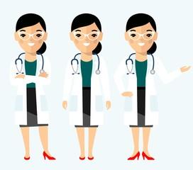 Medicine set of medical people, doctor and nurse. Vector illustration of a medical team, doctor, practitioner, physician, nurse.