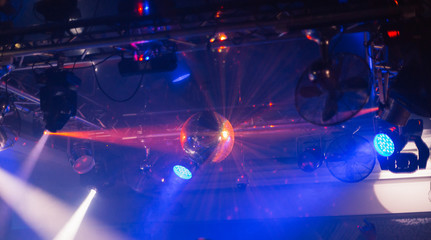 Mirror ball in a nightclub with different lights.