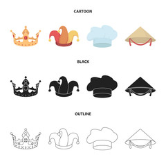 Crown, jester cap, cook, cone. Hats set collection icons in cartoon,black,outline style vector symbol stock illustration web.