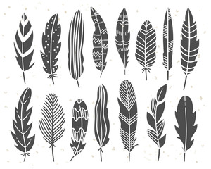 Tribal ethnic elements. North American Indian illustration set with feathers