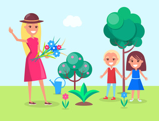Kids Gardening with their Mother Illustration