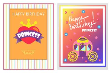 Happy Birthday Cards Set, Vector Illustration