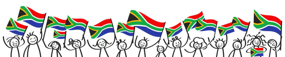 Cheering crowd of happy stick figures with South African national flags, smiling South Africa supporters, sports fans isolated on white background