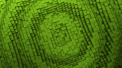 3d render Ripple Digital background of the many green squares
