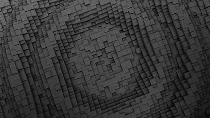 3D render Ripple Digital background of the many black squares