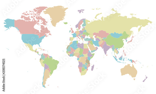 Political blank World Map vector illustration isolated on white ...