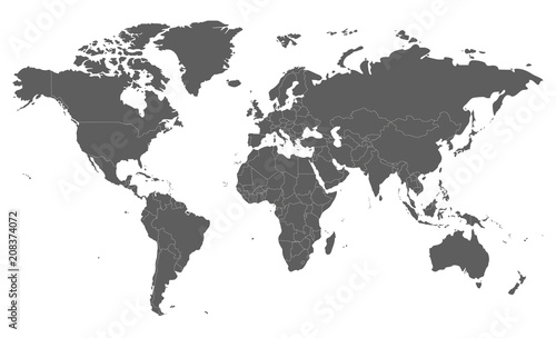 Political blank World Map vector illustration isolated on ...