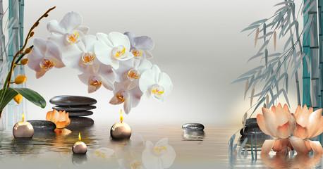 Tuinposter Orchidee Wandbild mit Orchideen, Steinen und Bambus im Wasser und schwimmenden Kerzen