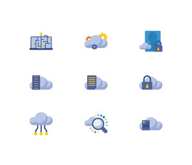 Cloud technology icons set. Secure account and cloud technology icons with machine learning, search and image storage. Set of hardware for web app logo UI design.