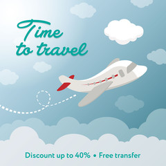 Time to travel. Square banner contains plane, clouds. Discount.